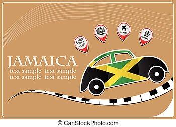 bandeira jamaica, feito, ícone, car