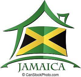 bandeira jamaica, feito, ícone, casa