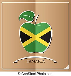 bandeira jamaica, feito, maçã, logotipo