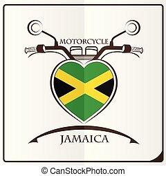 bandeira jamaica, feito, motocicleta, logotipo