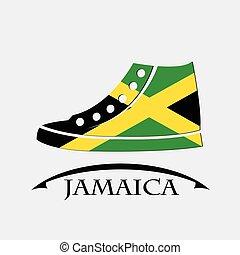 bandeira jamaica, feito, sapatos, ícone