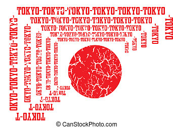 bandeira japão, vetorial, arte, tóquio