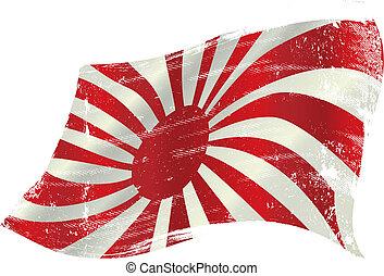 bandeira, japão, waving, grunge