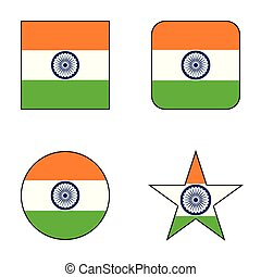 bandeira, jogo, índia, ícone