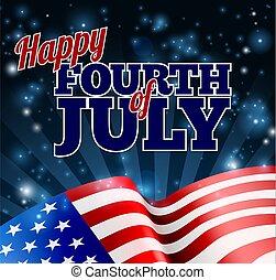 bandeira, julho, americano, fundo, quarto