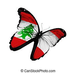 bandeira lebanese, borboleta, voando, isolado, branco, fundo