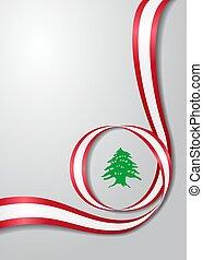 bandeira lebanese, ondulado, experiência., vetorial, illustration.