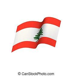 bandeira lebanese, vetorial, ilustração