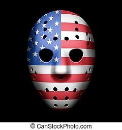 bandeira, máscara, goalie, eua