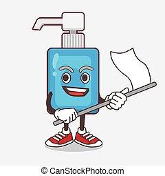 bandeira, mão, personagem, waving, caricatura, sanitizer, mascote