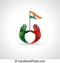 bandeira, mãos