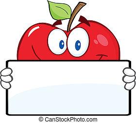 bandeira, maçã, vermelho, segurando