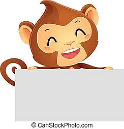 bandeira, macaco, segurando
