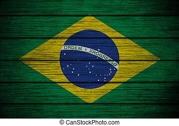 bandeira, madeira, fundo, textura, brasileiro