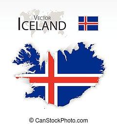 bandeira, mapa, transporte, (, islândia, turismo, república, ), conceito