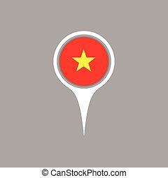 bandeira, mapa, vetorial, illustration., ícone, vietnã, localização