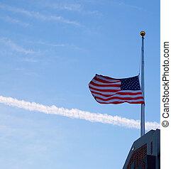 bandeira, mastro, nós, metade