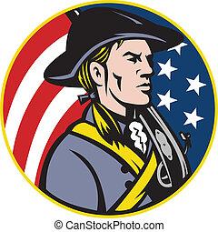bandeira, minuteman, americano, patriota