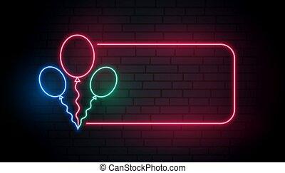 bandeira, néon, texto, balões, espaço
