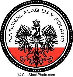 bandeira nacional, dia, polônia