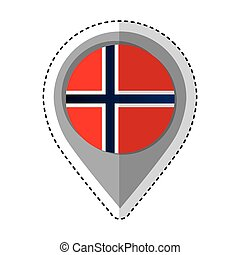bandeira, noruega, localização, alfinete, ícone