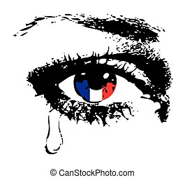 bandeira, olho, chorando, frança