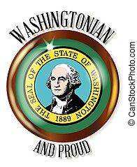 bandeira, orgulhoso, washington, botão