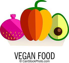bandeira, ou, voador, modelo, com, orgânica, frutas, e, vegetables., conceitual, ilustração, de, alimento saudável, feito, em, apartamento, estilo, vector., lugar, para, seu, text.
