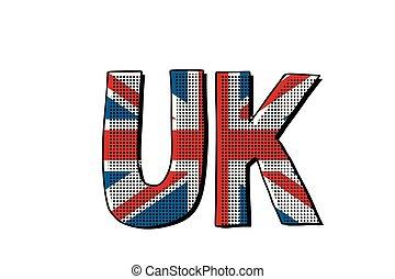 bandeira, palavra, reino unido