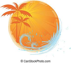bandeira, palma, redondo, árvores