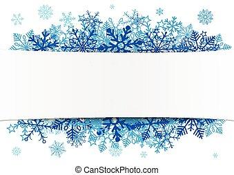 bandeira, papel, azul, emblema, snowflakes, branca