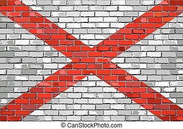 bandeira, parede, alabama, tijolo