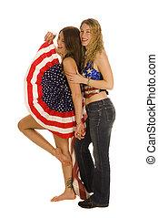 bandeira, patriotas, americano, femininas, atraente