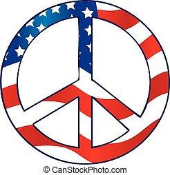 bandeira, paz, americano, sinal
