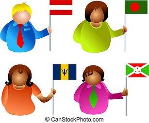 bandeira, pessoas