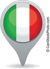 bandeira, ponteiro, italiano