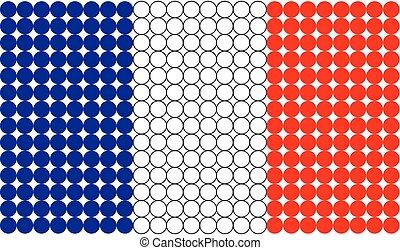 bandeira, pontilhado, frança