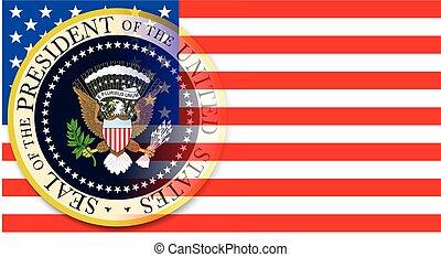 bandeira, presidencial, selo