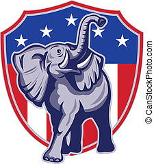 bandeira, republicano, elefante, eua, mascote