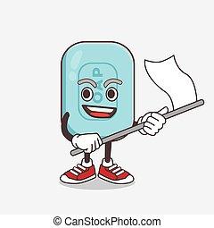 bandeira, sabonetes, azul, personagem, waving, caricatura, mascote