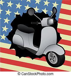 bandeira, scooter, eua