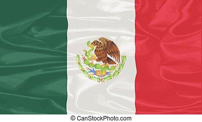 bandeira, seda, mexicano