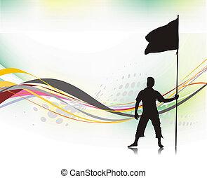 bandeira, segurando, homem
