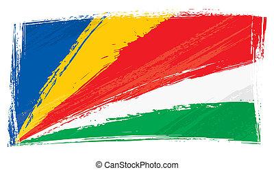 bandeira, seychelles, grunge