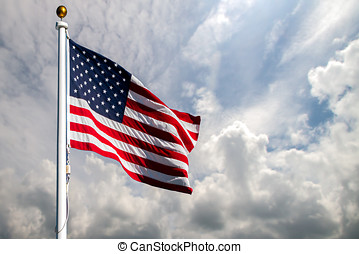 bandeira, soprando, americano, vento