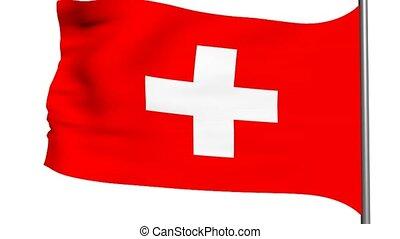 bandeira suíça, animação 3d, branco, fundo