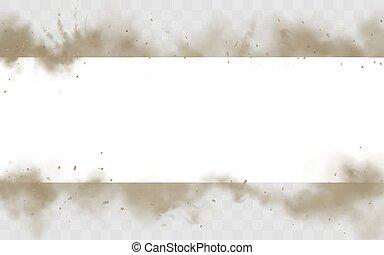 bandeira, sujo, escarneça, vazio, cima, smog, borda, fumaça