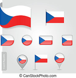 bandeira tcheca, república, ícone