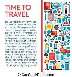 bandeira, tempo, themed, ícones, vôo, viagem, aeroporto
