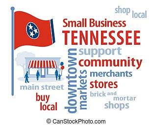 bandeira tennessee, negócio, pequeno